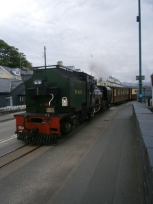The Welsh Highland Railway also leaves from Porthmadog via the road bridge to Caernarfon via Bedegellert and the slopes of Snowdon