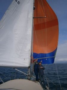 We finally had the right weather and wind direction to use the spinnaker, sailing towards Caernarfon