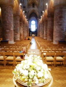 The nave, St. Magnus' Cathederal with massive sandstone columns and arches in the Norman style dating from the 11th Century