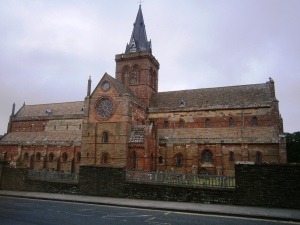 St. Magnus's Cathederal, Kirkwall. Largely constructed in the Norwegian period, then passed to the protestant community and finally the Church of Scotland.