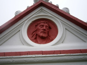 Ecce Homo - Behold the Man. Made from concrete in the portico over the Chapel entrance