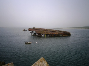 Remains of sunken block ship off Burra Island