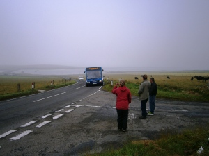 Hailing the local bus Orkney style - no bus stop needed!