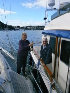 Nigel T greeting us on our safe arrival back at our home port with a bottle of bubbly